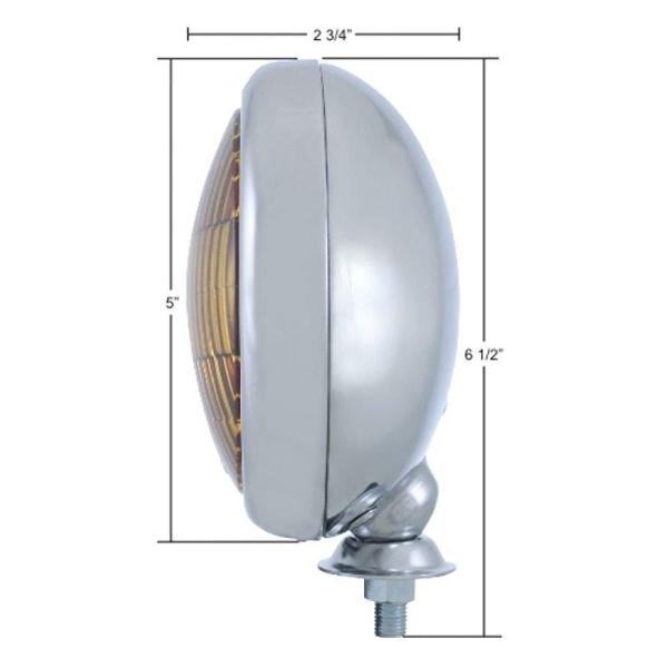 Vintage Round Chrome Amber Fog Light - 12V