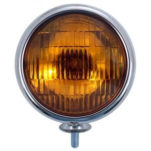 Vintage Round Chrome Amber Fog Light - 6V