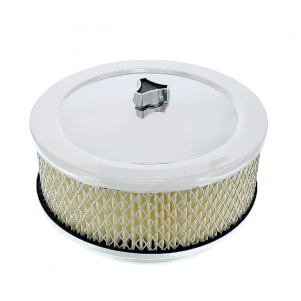 """4 Barrel Air Cleaner - Chrome 6-3/8"""" Round with 5-1/8"""" Neck"""