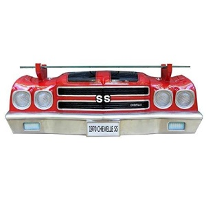 1970 Chevy Chevelle SS Wall Shelf - Red w/ Black Stripes and LED Headlights