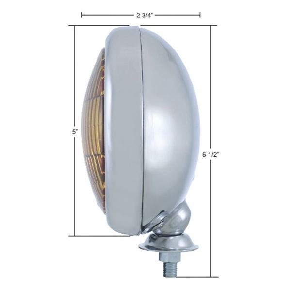 Vintage Round Chrome Clear Fog Light - 12V