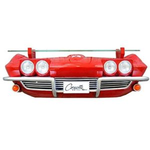 1963 Chevy Corvette Stingray Wall Shelf - Classic Red w/ LED Headlights