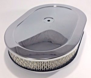 "4 Barrel Air Cleaner - Chrome 12"" x 2"" Oval with 5-1/8"" Neck"
