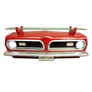 1969 Plymouth Barracuda Front Wall Shelf - Classic Red w/ LED Lights