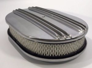 "Finned Polished Aluminum Air Cleaner Assembly - 4BBL 12"" Oval"