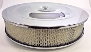 "14"" x 3"" Air Cleaner Assembly - 4 Barrel Chrome Top Flat Base"