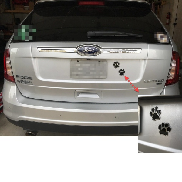 Pair of Dog Paw Print Car Decals - Chrome with Black ABS Design