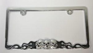Skull Metal License Plate Frame - Chrome