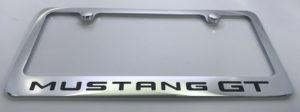 Ford Mustang GT License Plate Frame - Chrome with Black Script
