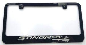 Chevrolet Corvette C7 Stingray License Plate Frame - Black with Silver Script