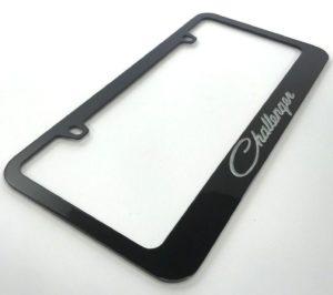 Dodge Challenger License Plate Frame - Black with Silver Script