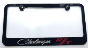 Dodge Challenger RT License Plate Frame - Black with Silver Script