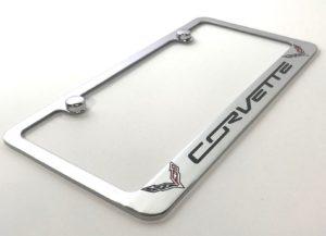 Chevrolet Corvette C7 License Plate Frame - Chrome with Black Script