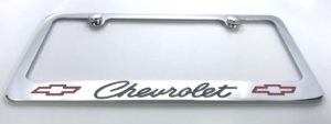 Chevrolet License Plate Frame - Chrome with Black Script