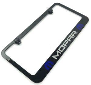 Mopar License Plate Frame - Black with Blue Logo
