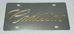 Cadillac License Plate - Chrome with Gold Script