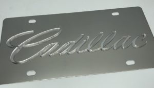 Cadillac License Plate - Chrome with Clear Script