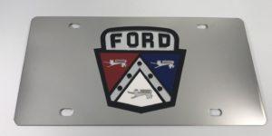 Ford 1950's Hood Emblem License Plate - Chrome