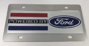 Powered By Ford License Plate - Chrome with Black Script
