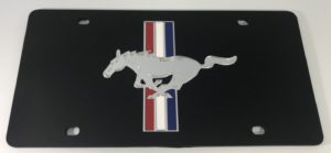 Ford Mustang License Plate - Black Acrylic with Logo