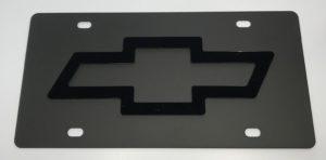 Chevrolet License Plate - Black with Black Emblem