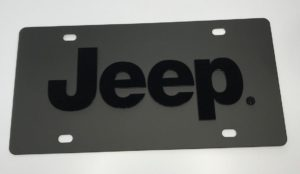 Jeep License Plate - Black with Black Letters