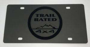 Jeep Trail Rated License Plate - Black with Black Emblem