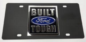 Built Ford Tough License Plate - Black with Chrome Script