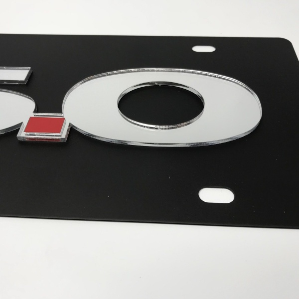 Ford Mustang 5.0 License Plate - Black with Chrome Script