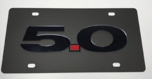 Ford Mustang 5.0 License Plate - Black with Black Script