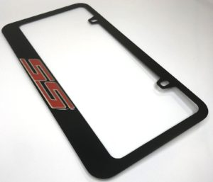 Chevrolet SS License Plate Frame - Black with Red Script
