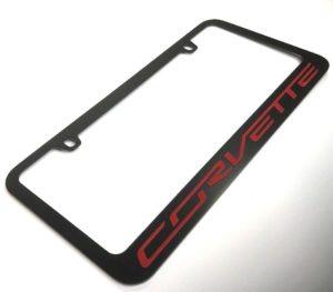 Chevrolet Corvette License Plate Frame - Black with Red Script