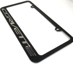 Chevrolet Corvette License Plate Frame - Black with Chrome Script