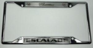 Cadillac Escalade License Plate Frame - Chrome with Emblem