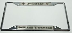 Ford Mustang License Plate Frame - Chrome with Black Script