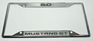 Ford Mustang 5.0 GT License Plate Frame - Chrome with Black Script
