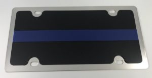 Police License Plate - Chrome with Blue Line