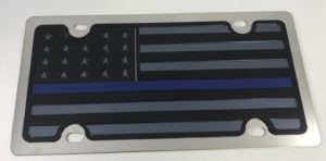 American Flag License Plate - Chrome with Police Blue Line