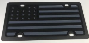 American Flag License Plate - Blacked Out