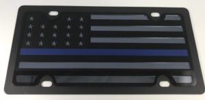 American Flag License Plate - Blacked Out Police
