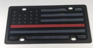 American Flag License Plate - Blacked Out Firefighter