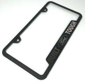 Built Ford Tough License Plate Frame - Black with Logo