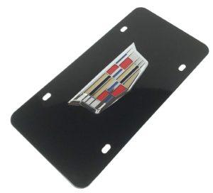 Cadillac License Plate - Black with Chrome Emblem