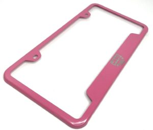 Jeep License Plate Frame - Pink with Grille Emblem
