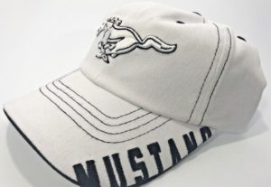 "Ford Mustang Hat - White with ""Mustang"" Script on Bill"