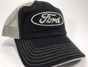 Ford Emblem Hat - Black with Grey Mesh Backing