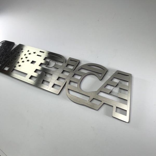 MERICA Emblem - Brushed Stainless Steel American Flag Design