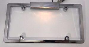 License Plate Frame with Light - Chrome
