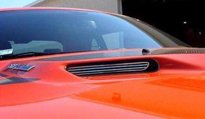 Pair of 2008-2014 Dodge Challenger Hood Scoop Overlays - Billet Stainless Steel