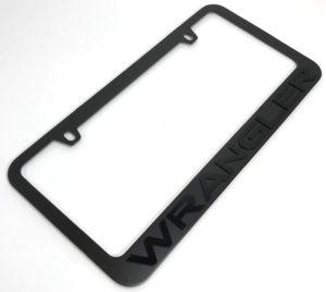 Jeep Wrangler License Plate Frame - Black with Black Letters